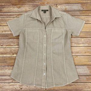 Tommy Bahama Tan Linen Button Up Blouse Sz XS
